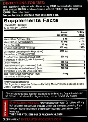 INSTANT KNOCK OUT #1 Fat Burner Weight Loss Muscle Knockout Abs Diet BUY DIRECT 1