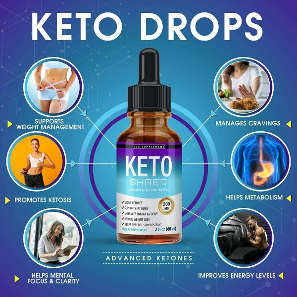 Keto Diet Shred Drops (2 PACK) Ketosis Weight Loss Supplement Fat Burn Carb Bloc 2