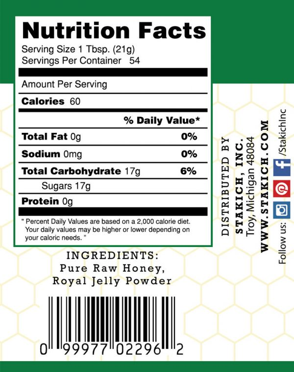 40 oz Royal Jelly Enriched Pure Raw Honey 100% Natural Gluten Free Fresh Potent 1