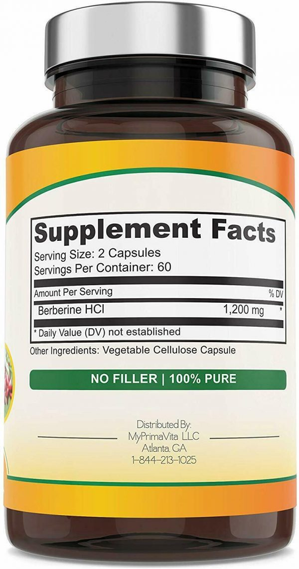 Berberine Plus, 1200mg,100% Pure, Ultra Strength, 60 Day Supply, 120 Veggie Caps 1