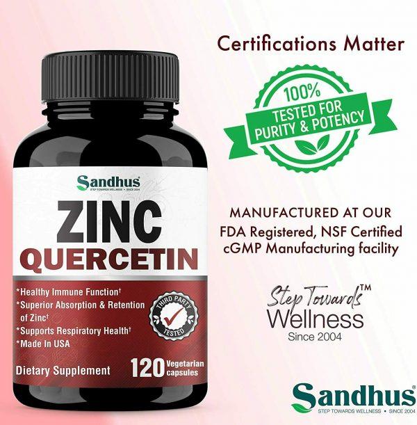 Zinc with Quercetin 120 Capsules - Best Quercetin Zinc Supplement (2 Pack) 4