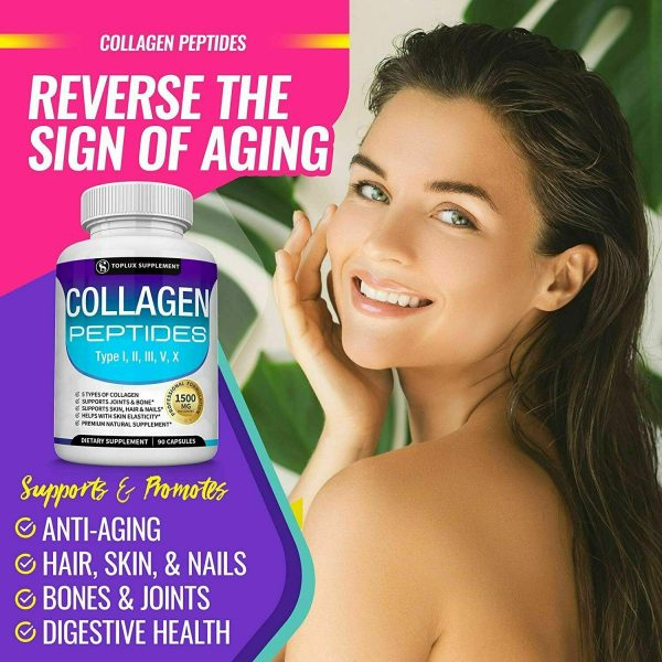 Premium Collagen Peptides 90 CAPSULES Hydrolyzed Anti-Aging (Types I,II,III,V,X) 1