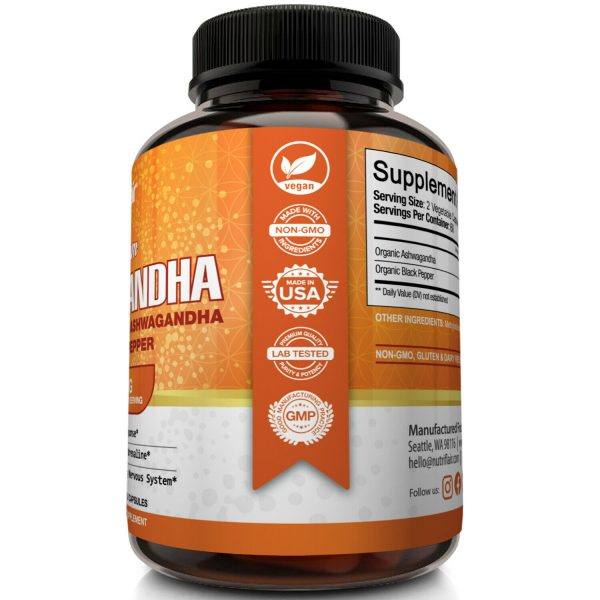 ☀ Organic Ashwagandha Capsules 1600mg 120 Capsules with Black Pepper Root Powder 3
