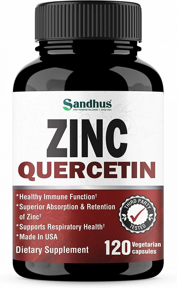 Zinc with Quercetin 120 Capsules - Best Quercetin Zinc Supplement