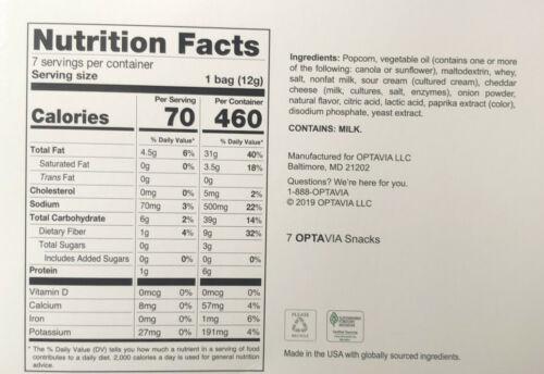Medifast Optavia Sharp Cheddar & Sour Cream Popcorn  7 Snacks New Free Shipping 1