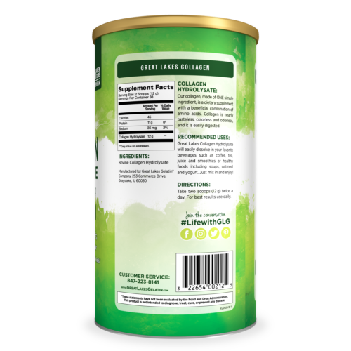 Great Lakes Gelatin, Beef Collagen Hydrolysate, Unflavored, 16 Oz Can 1