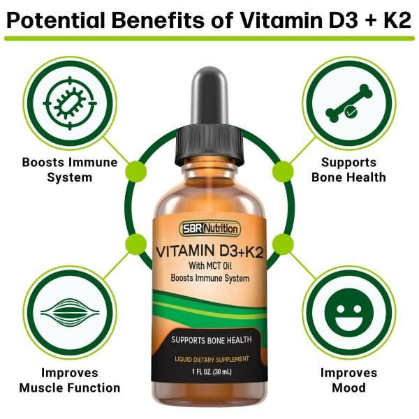 MAX ABSORPTION Vitamin D3 + K2 (MK-7) Liquid Drops, MCT Oil, 1000 svgs, 1 fl oz 2