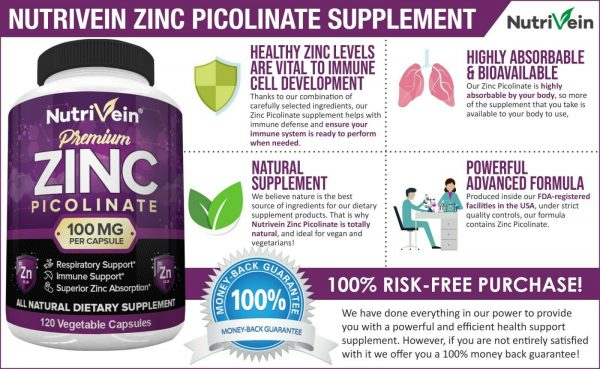 Nutrivein Zinc Picolinate 100mg - 120 Capsules - Immunity Defense Max Strength 1
