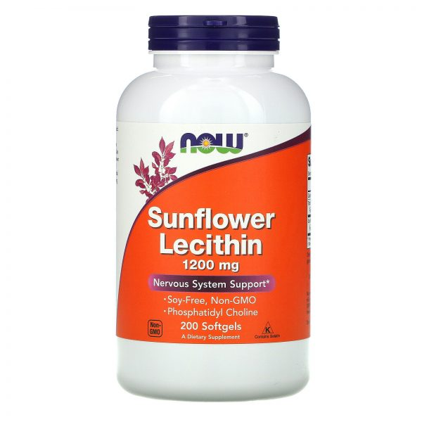 Now Foods Sunflower Lecithin 1200 mg 200 Softgels GMP Quality Assured, Kosher,