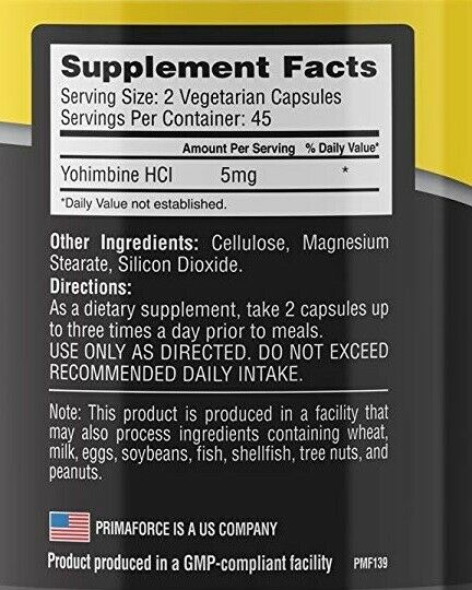 PrimaForce Yohimbine HCl, 2.5mg Capsules - Weight Fat Loss Supplement - 90 Count 1
