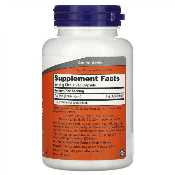 Now Foods Taurine Double Strength 1 000 mg 100 Veg Capsules GMP Quality Assured, 1