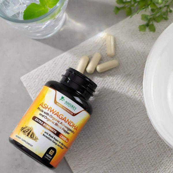 Organic Ashwagandha Capsules High Potency Supplement w/ Black Pepper Root Powder 6