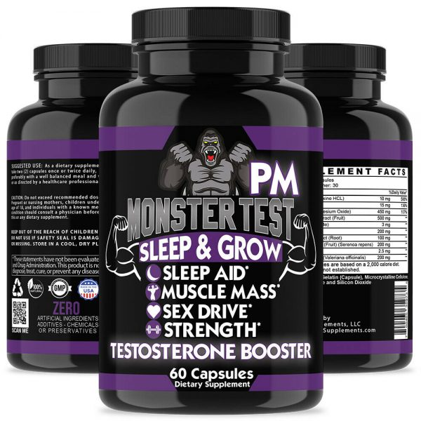 Testosterone Booster Monster Test with Tribulus for Men + Monster Test PM 2 Pack 6