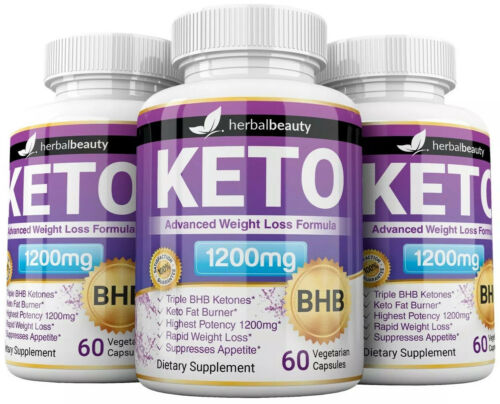 3 x Herbal Beauty KETO BHB 1200mg PURE Ketone FAT BURNER Weight Loss Diet Pills 10