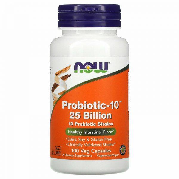 Now Foods Probiotic-10 25 Billion 100 Veg Capsules Dairy-Free, Gluten-Free, GMP