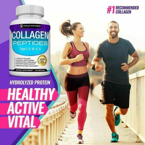 Premium Collagen Peptides 90 CAPSULES Hydrolyzed Anti-Aging (Types I,II,III,V,X) 3
