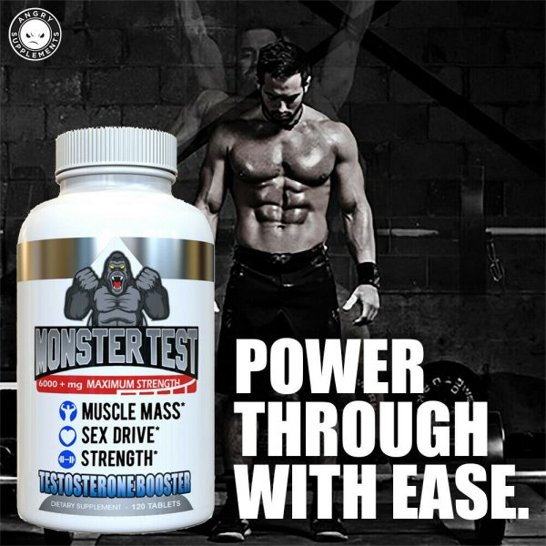 Monster Test Testosterone Booster w Tribulus All Natural For Men 6000mg w/ Zinc 6