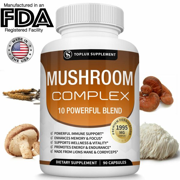 Mushroom Complex Supplement (2 Pack) +10 Mushrooms Lions Mane Reishi Pills 1