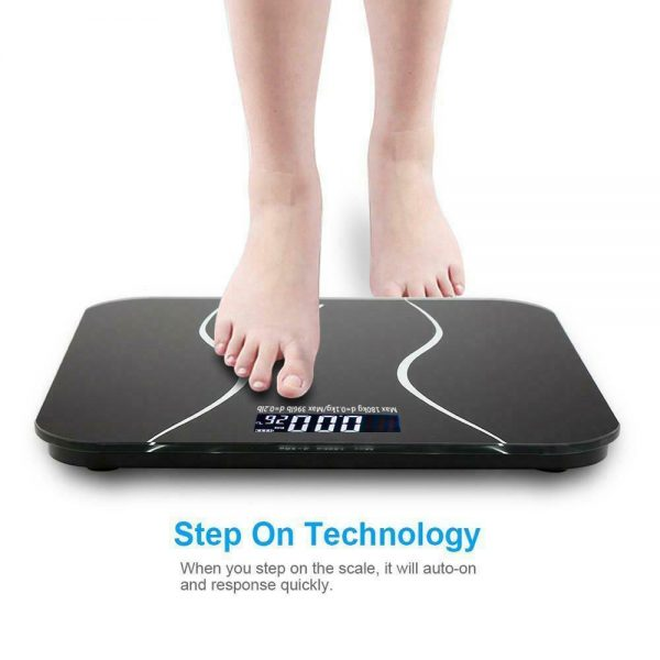 400lb LCD Digital Bathroom Body Weight Scale Tempered Glass Auto Switch 180kg 2