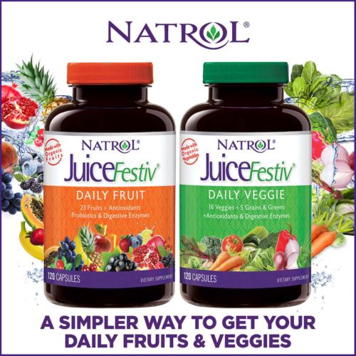NATROL JUICEFESTIV DAILY FRUIT AND VEGGIE PROBIOTICS ANTIOXIDANTS 240 CAPSULES 3