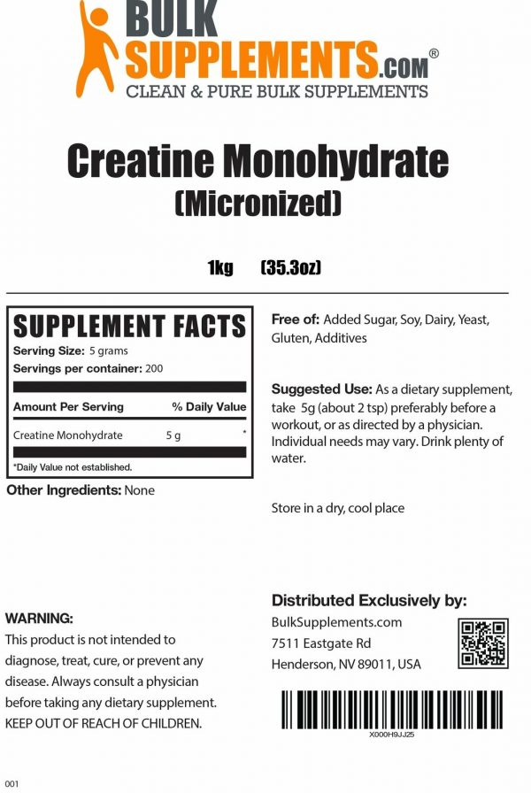 BulkSupplements.com Creatine Monohydrate (Micronized) 5