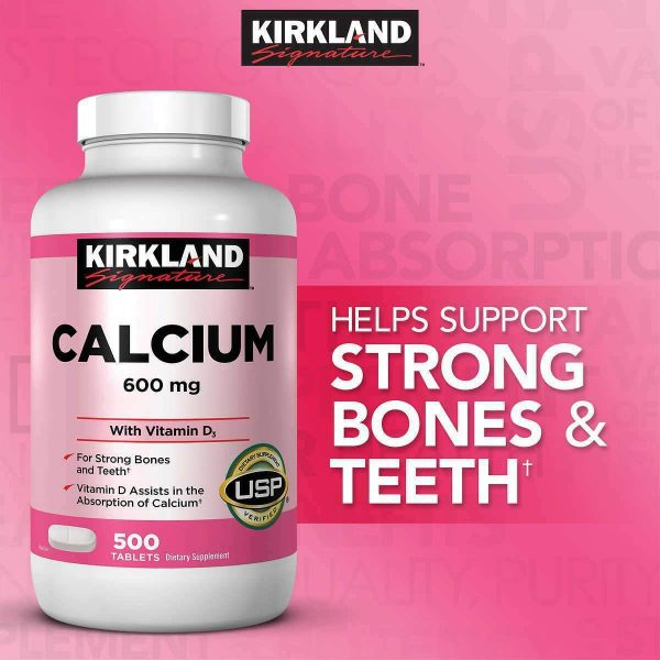 Kirkland Signature Calcium 600 mg. with Vitamin D3, 500 Tablets FREE SHIPPING 1