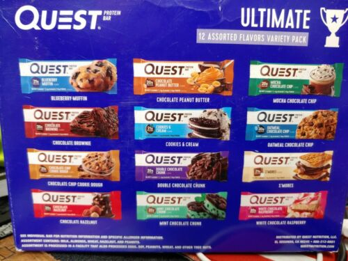 2 Boxes of 12 Quest Ultimate 20g Protein Bars Variety Pack 12  flavors- 24 bars