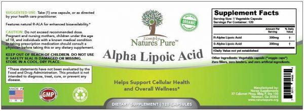 Alpha Lipoic Acid 2 BOTTLES Simply Nature's Pure 600mg 8 month supply ALA R-ALA 5