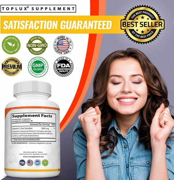 Liposomal Vitamin C 1800 MG Capsules (2 PACK) High Absorption Vitamin C Pills  7