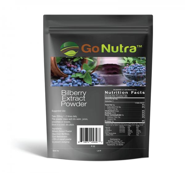 Bilberry Fruit Powder 4:1 Extract 4x Stronger Antioxident Anthocyanin 4oz