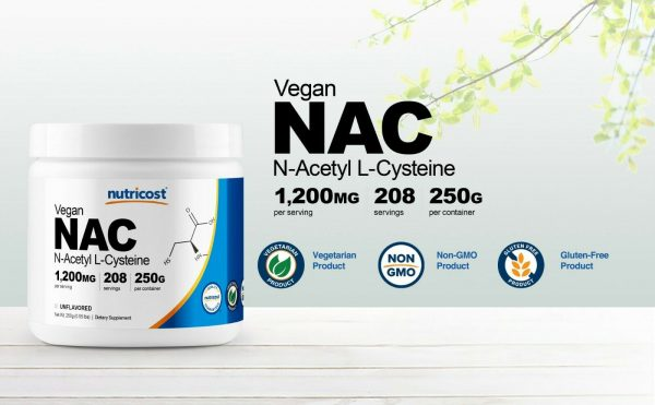 Nutricost N-Acetyl L-Cysteine (NAC) Powder, 250 Grams - Non-GMO and Gluten Free 1