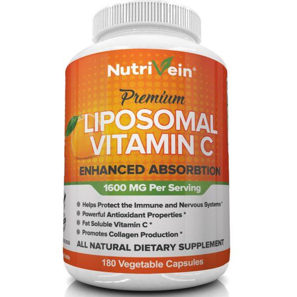 Nutrivein Liposomal Vitamin C 1600mg -180 Capsules - High Absorption Supplements 3