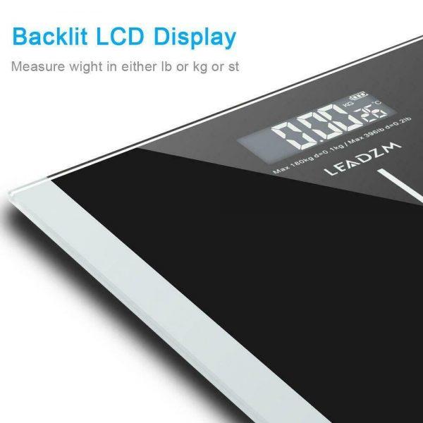 400lb Digital Body Weight Scale Bathroom Fitness Backlit LCD 180kg + 2 Battery 3