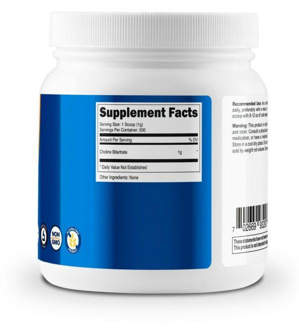 Nutricost Choline Bitartrate (500G) Unflavored - Gluten Free & Non-GMO 3