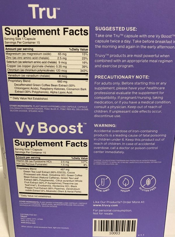 1 Week Truvy *TRUVISION NEW FORMULA* Tru +Vy Boost Weight Loss Diet Supplement 3