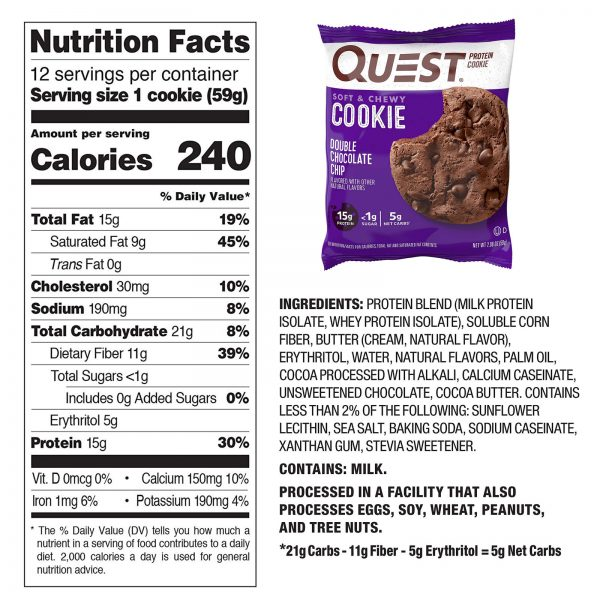 High Protein Cookies Quest 12 Pack 4 Flavors Low Carb Keto Friendly Gluten Free 4