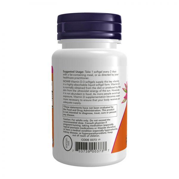 NOW Highest Potency Vitamin D-3 5000 IU 240 Softgels, Bone Support, FRESH 2