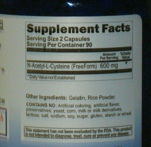 NAC N-Acetyl L Cysteine 600 mg - 180 Capsules  Freshest!  1