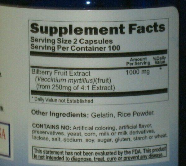 Bilberry Fruit Extract 1000mg  200 Capsules Fresh!   Eye Health 1