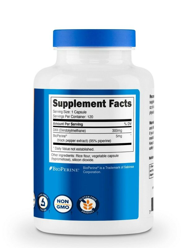 Nutricost DIM (Diindolylmethane) 300mg, 120 Capsules with BioPerine 5