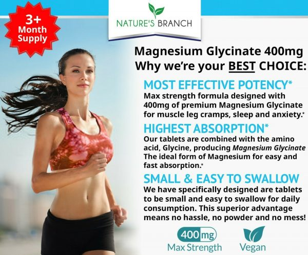 BEST MAGNESIUM GLYCINATE 400 MG – 200 TABLETS – HIGH ABSORPTION PURE MADE IN USA 1