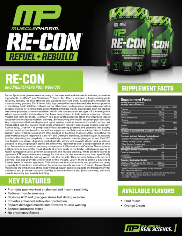 EXPIRED Musclepharm RE-CON SPORT Post-Workout MP Recon 30 Serv Choose Flavor 2