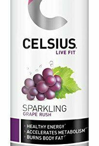 CELSIUS Sparkling Grape Rush Fitness Drink, Zero Sugar, 12oz. Slim Can, 12 Pack 1