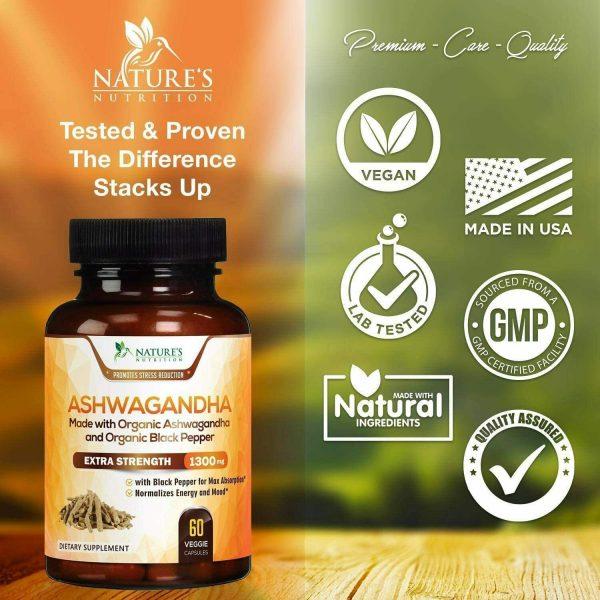 Organic Ashwagandha Capsules High Potency Supplement w/ Black Pepper Root Powder 2