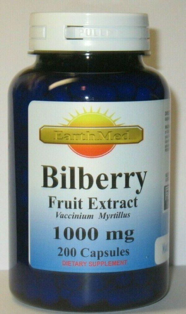 Bilberry Fruit Extract 1000mg  200 Capsules Fresh!   Eye Health