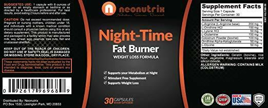 Night Time Fat Burner Weight Loss Pills for Men and Women Burn Fat 6