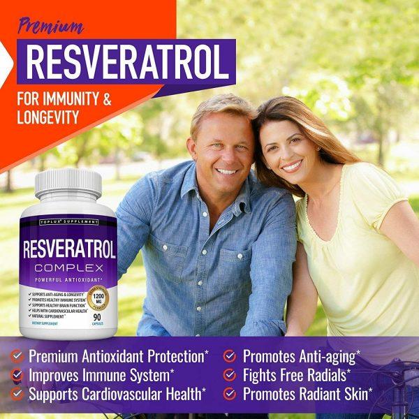 Resveratrol Maximum 1200 MG Strength Natural (90 CAPSULES) AntiAging Antioxidant 2