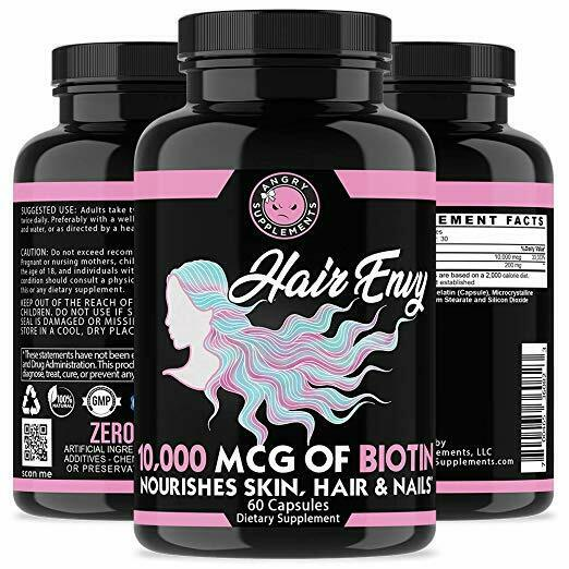 Angry Supplements Women Hair Envy Biotin + Keratin 10,000 MCG All Natural 60 Ct 1