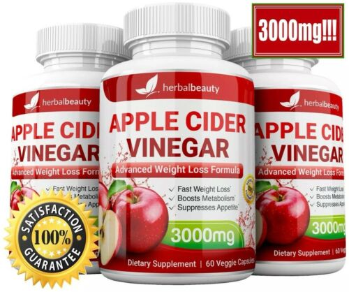 3 x Herbal Beauty APPLE CIDER VINEGAR Pills 3000mg WEIGHT LOSS 180 CAPSULES USA
