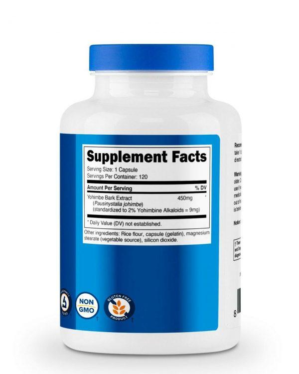 Nutricost YohimbeBark Extract 450mg (9mg Yohimbine Alkaloids), 120 Capsules 4